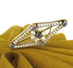 Antique 14k Yellow Gold Seeds Pearls And Sapphires Vintage Stick Pin Hat Pin Estat