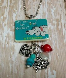 Are You My Mother Book Necklace HANDMADE Seuss PD Eastman Librarian Teacher Gift