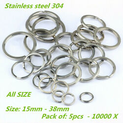 15-38mm Stainless Steel Flat Split Key Ring Fishing Solid Chain Clips 10-10000 X