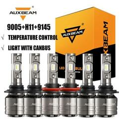 AUXBEAM 9005+H11 LED Canbus Headlights + 9145 H10 Fog Bulbs for 15-18 Ford F-150