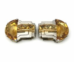 Cartier Vintage Dress Clips with Citrine in Platinum and 18k Gold - HM1910X
