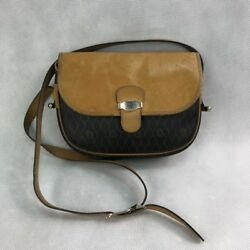 DIOR VTG Womens Brown Canvas  Leather Crossbody Shoulder Bag with Logo