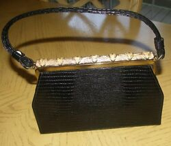 Vtg alligator print black leather evening bag purse with long gold tone clasp