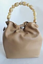 AUTH CHRISTIAN DIOR BEAUTIFUL LEATHER BUCKET TOTE  BAG BEIGE MADE IN ITALY