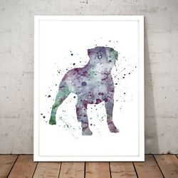 Staffordshire Terrier Painting Dog Unique Art Poster Print - A3 A2 A1 A0 Framed