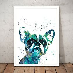 Boston Terrier Cute Painting Dog Unique Art Poster Print - A4 A3 A2 A1 A0 Framed