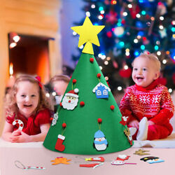3D Cone DIY HandCraft Felt Christmas Tree Toddlers Hanging Decor Xmas Kids Gifts