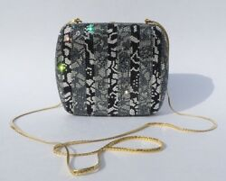 JUDITH LEIBER Silver Gray Black Crystal Gold Chain Minaudière Clutch Evening Bag