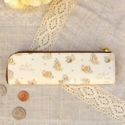 Disney Lady and the Tramp Cowhide Pen Case Makeup Pouch Bag Made in Japan E3108