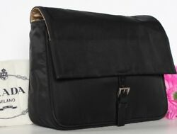 $798~PRADA Clutch Gold Satin~BLACK~Leather~BAG~Cosmetic Travel silk EVENING Rare