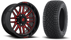 20x10 Fuel D663 Ignite Red 32 At Wheel And Tire Package 8x180 Gmc Sierra