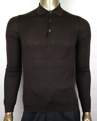 $795 Gucci Men's Dark Brown Cashmere Long Sleeve Polo Sweater S 244900 2060