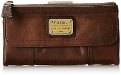 Original Fossil Women's Brown Leather Emory Wallet Top Quality Card Holder Sale