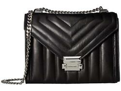 Michael Kors Whitney Large Quilted Leather Crossbody Bag Black =Ebay SALE=