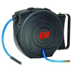 Air Hose Reel with Retractable 50 Foot Hose 38 Inch ID Mountable Swivel Brac