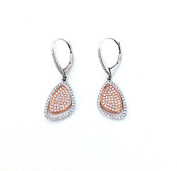 .55 Cts Diamond Tear Drop/triangle 14k White And Rose Gold Earrings Paveand039 Setting