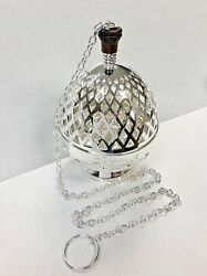 Silver Plated Brass Single Chain Cathedral Censer / Thurible - 173ssc - Church