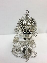 Silver Plated Brass Triple Chain Cathedral Censer / Thurible - 173s - Church