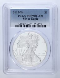 2013-w 1 Silver American Eagle Proof Graded By Pcgs As Pr69 Dcam