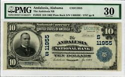 1902 10 Fr 633 Rare Plain Back Pmg Vf-30 Certified National Currency Note 9004