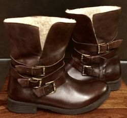 NEW ITALIAN WOMEN INUOVO BROWN LEATHER SHEARLING BELTED STRAPS ANKEL BOOTS SIZ 9 $69.50