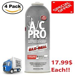 AC Pro Professional Formula Refrigerant with Max-Seal 12 oz NEW 4 Pac