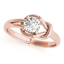 Round Cut Diamond Solitaire Love Knot Engagement Ring Pink Gold - Gia Flawless