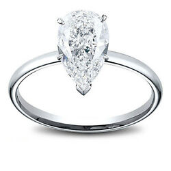 14k Gold 0.98 Ct Pear Shape Diamond Solitaire Engagement Ring L Si1
