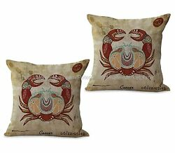 Set of 2 couch decorative pillows Cancer Zodiac Symbol cushion cover