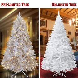 White Artificial Christmas Tree Tall 7-7.5and039 Natural Fir Pine Unlight And Prelit