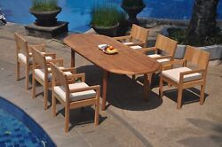 Dsvr A-grade Teak 7pc Dining Set 94 Oval Table 6 Arm Chair Outdoor Patio
