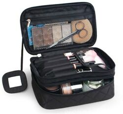 ONEGenug Cosmetic Makeup Bag And Organizer Double Layer Dot Pattern Travel Bag