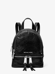 Michael Kors Rhea Mini Python Embossed Leather Backpack & Crossbody Bag Black