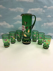 Vintage Bohemia Czech Republic 24k Gold Green Crystal Glass Pitcher And Cups Set