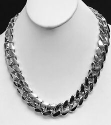 18k Solid White Gold Miami Cuban Curb Link 34