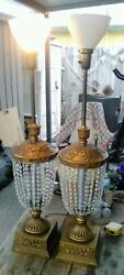 46 Italian Gold Guild Florentine Crystal Prisms Table Lamps 40-60s Hollywood