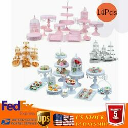 14Pcs Metal Cake Cupcake Tower Stand Set for Birthday Wedding Party Decor Plates