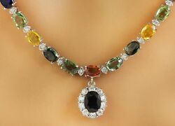 32.15 Carat Natural Sapphire and Diamond 14K White Gold Luxury Necklace