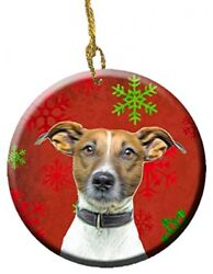 Red Snowflakes Holiday Christmas Jack Russell Terrier Ceramic Ornament KJ1183CO1