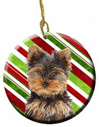 Candy Cane Holiday Christmas Yorkie PuppyYorkshire Terrier Ceramic Ornament