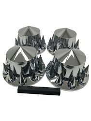 Chrome Semi Truck Hub Cover Wheel Set Rear 33mm Nut Covers Spiked Removable Caps