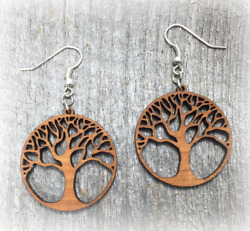 Tree Of Life Wood Earrings Cherry Walnut Yoga Nature Handcrafted In The Usa