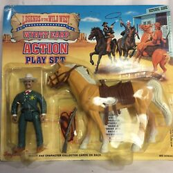 1992 Legends Of The Wild West Wyatt Earp Action Play Set Horse And Accessories