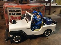Police Patrol Jeep Battery Operated Tin Toy Boxed Tn Japan Christmas Present