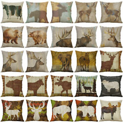 Animal Deer Bear Cotton Linen Soft Home Decorative Pillow Case Cushion Cover 18quot;