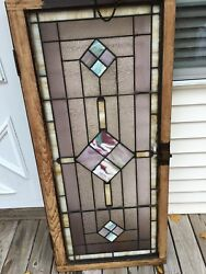 Original Vintage Leaded Stained Glass Transom Window 53 X 25 In. Pick Up Only