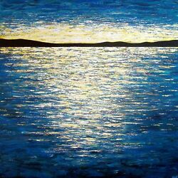 Large Original Abstract Seascape Painting Marvelous Reflection,48x48x1.5