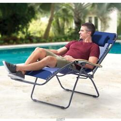 The Ergo Chaise Lounger Large Reclining Breathable Mesh Pool beach NAVY $74.99