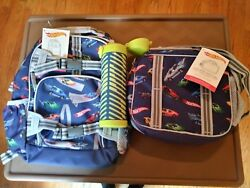 Pottery barn SET HOT WHEELS BACKPACK  + LUNCH BOX + WATER BOTTLE Car school boy