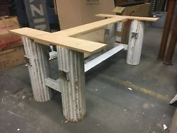 Custom Made Table Base Salvaged Fluted Wood Columns Stretcher Design For 8' X 4'
